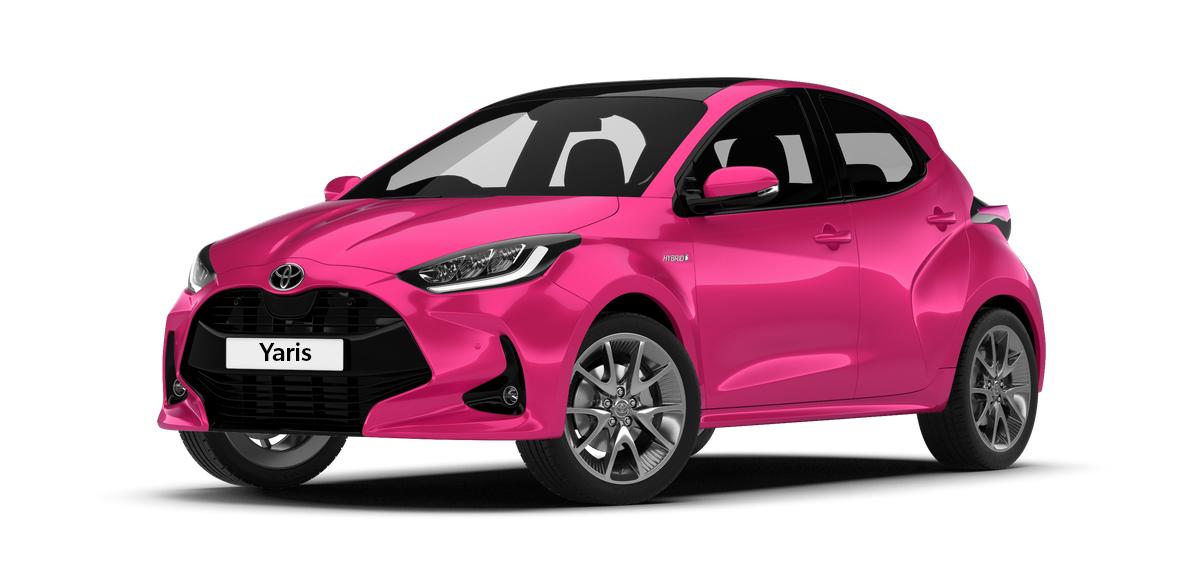 Toyota Yaris Hybrid pink self charging